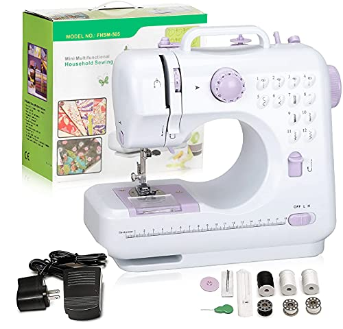 Hukunos Mini Sewing Machine, Electric Household Crafting Mending Portable Sewing...