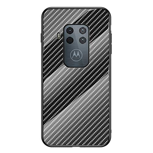 Grandcase Capa para Motorola One ZoomCase, capa traseira de vidro temperado ultrafina com textura de fibra de carbono avançada resistente a arranhões para Motorola One Zoom/Pro 6,3 polegadas – preta