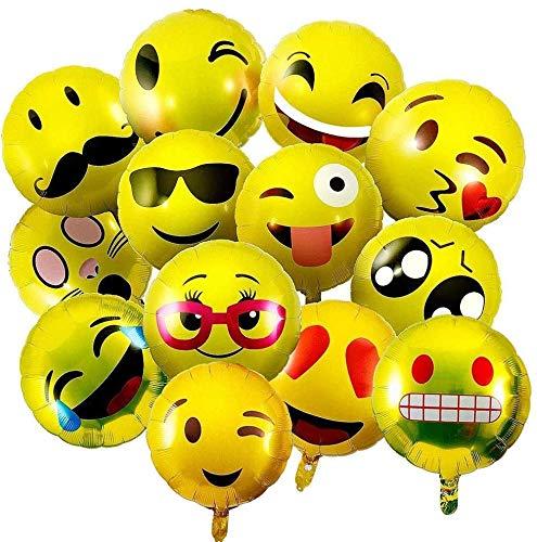Emoji Party Luftballons, BESTZY 30 Stück 18 Inch Emoji Ballons Folienballon Helium Luftballons Lustige Freche Smily Emoji für Hochzeit, Party, Geburtstag Dekoration