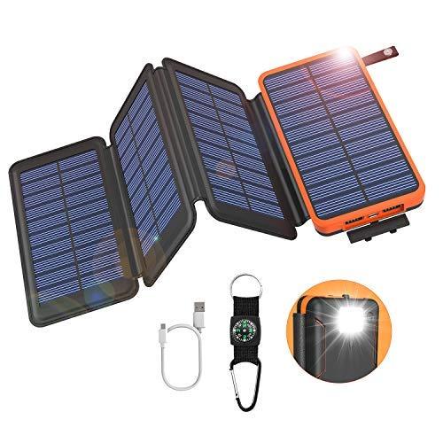 GOODaaa Solar Powerbank 25000mAh mit 4 Faltbar Solarpanels High Capacity Tragbares USB 5V 2A Solar Ladegerät Outdoor Notfall-Energie Externer Akku mit LED-Licht Kompass für Cellphones Tablet (Orange)