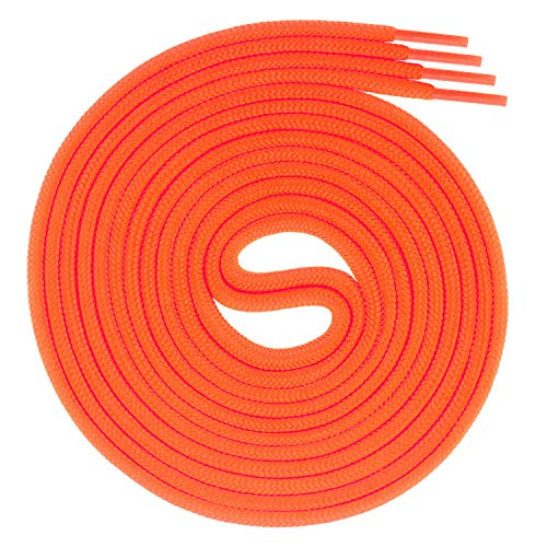 Swissly 1 paio di lacci rotondi per scarpe da lavoro e in pelle, resistenti agli strappi, diametro 3 mm, colore arancione fluo, lunghezza 110 cm