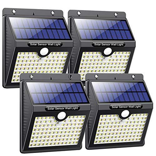 Luz Solar Exterior, Pxwaxpy [97LED 4 Packs] Foco Solar Exterior con Sensor de Movimiento Gran Ángulo 270º, Lámpara Solar Impermeable con 3 modos inteligentes para jardín,Terrazas, Escaleras