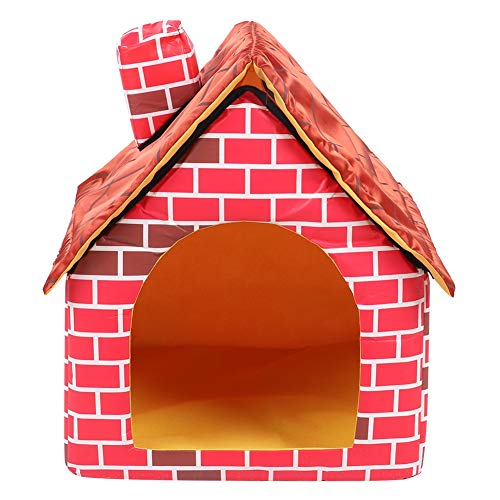 Pet House Roter Backstein Pet Nest Faltbare Pet Villa Outdoor Hundehütte Hundehütte Wasserdichtes Katzenhaus für kleine, mittelgroße Hunde Katzen
