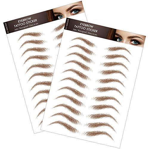 2 hojas/22 pares de pegatinas de tatuajes de cejas 4D resistentes al agua como el pelo para las mujeres y las niñas (cejas de arco alto)