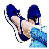 Aniywn Women's Round Toe Flat Heels Buckle Cut-Out Sandal Ladies t-Strap Casual Slip On Platform Walking Shoes Blue