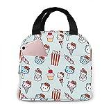 Yuanmeiju Totalizador aislado portátil del almuerzo, bolso lindo del paño de la capa del organizador de la comida del tenedor del almuerzo del gatito