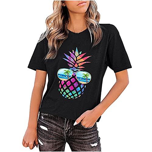 Camiseta de manga corta para mujer, de verano, cuello redondo, estampado de piña Negro XL
