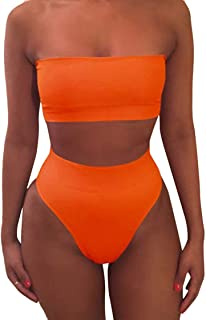 Women's Removable Strap Wrap Pad Cheeky High Waist Bikini Set Swimsuit