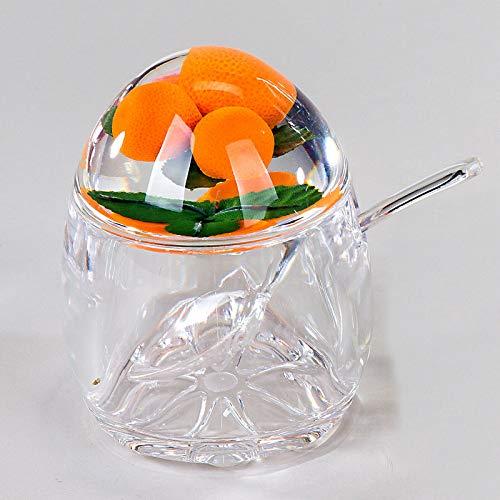 N / A Design Marmeladendose Orange Retro Stil Dose aus Acryl für Marmelade + Löffel