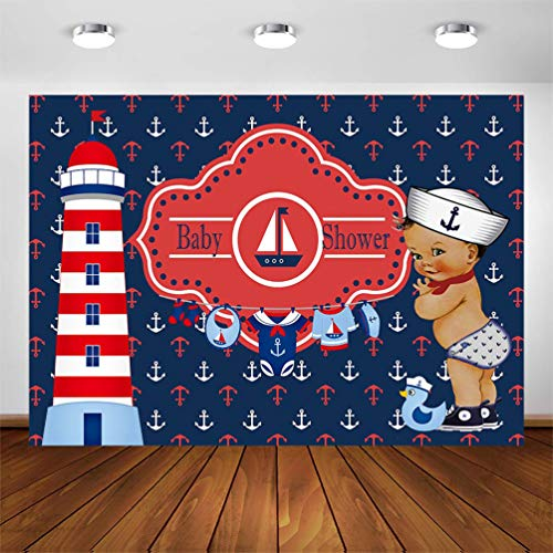 COMOPHOTO 7x5ft Ahoy Boy Baby Shower Backdrop Nautical Rudder Blue White Red It's a Boy Baby Shower Decoration Photography Background Supplies Cake Table Banner
