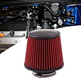 RYANSTAR 76mm 3' High Flow Round Tapered Cone Closed-Top Cool Air Filter Cleaner