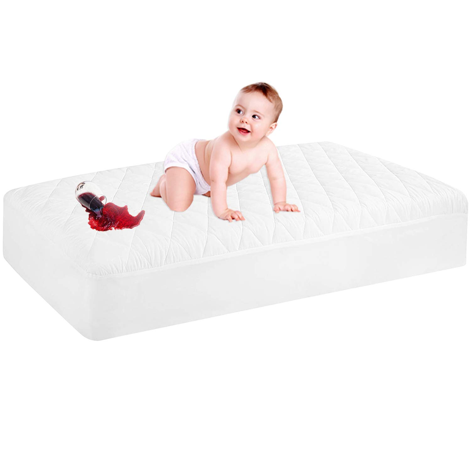 Waterproof Crib Mattress Protector Quilted Max San Jose Mall 43% OFF Baby Fitted