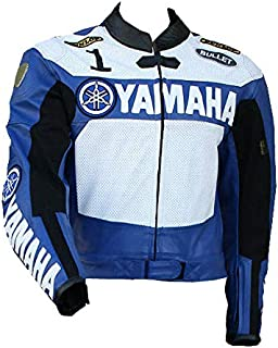 Yamaha Mens Motorbike Leather Jacket – Motorcycle Racing CE Protection Armour Biker Gear – Custom Made