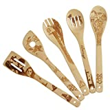 5 Piece Set Kitchen Cooking Utensils Set - Organic Bamboo Spoons Burned Wooden Spoon Turners Carved Spatulas Non-Stick-Great Gift For Chefs & Foodies (Harry Potter)