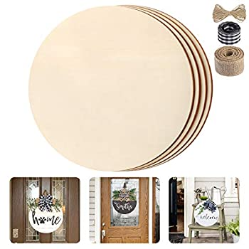 Fuyit Unfinished Wood Circles 4Pcs 14 Inch Uniform Blank Wood Rounds Slice Wooden Cutouts with Ribbon & Twine for DIY Crafts Door Hanger Sign Wood Buring Painting Christmas Decor
