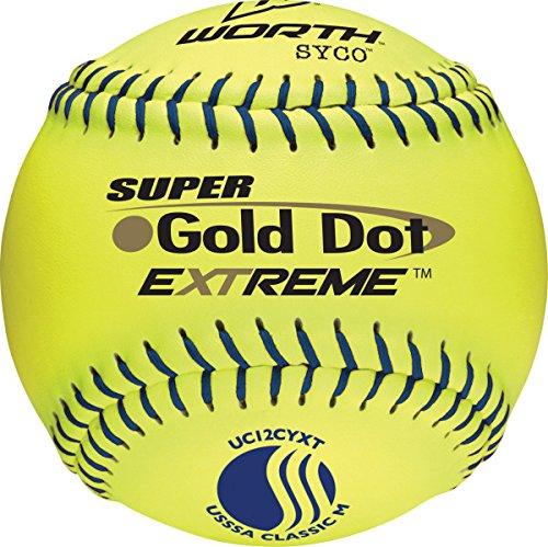 "Worth 12"" USSSA Gold Dot Extreme Slowpitch Softball (Dozen)"
