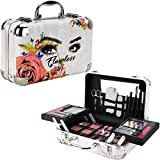 Ver Beauty Carry All Trunk Makeup Kit, Makeup Set, Gift Set, Train Case with Eyeshadow, Blush, Lipstick, Nail Polish, Brushes, Mirror in Flawless Design-VMK1506FWLS