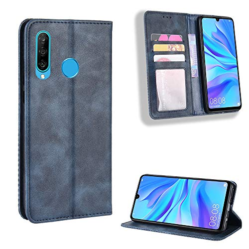 TTUDR Galaxy M30 Premium Leder Flip Schutzhülle [Standfunktion] [Kartenfächer] [Magnetverschluss] lederhülle klapphülle für Samsung Galaxy M30 - TTBYU010209 Blau