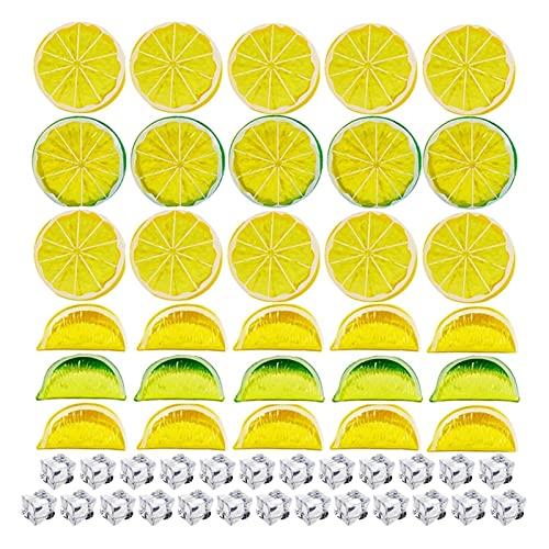 MIAOMIAO 60ピース人工果物偽レモンスライスシミュレーションレモンブロックアクリルアイスキューブセット写真Props結婚披露宴の家の装飾 service (Color : 60PCS)