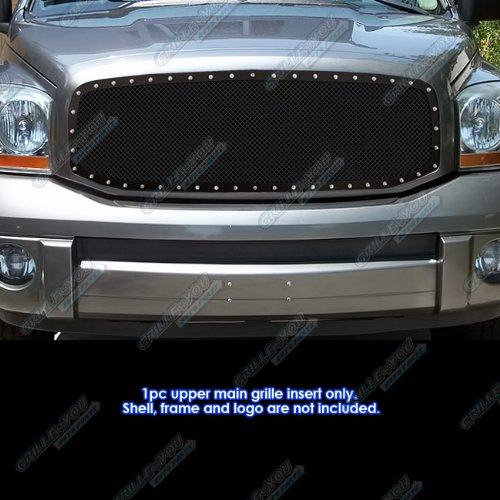 APS Compatible with 2006-2008 Dodge Ram Black Stainless Steel Mesh Rivet Stud Grille Grill Insert DL5318H