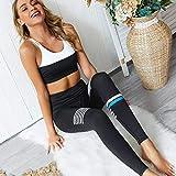 GLXQIJ Frauen Nahtlose Farben-Block-Streifen Sport Top + Gamaschen, Sport-BH Weiche Elastische Gym Fitness Laufen Jogging-Anzüge,Schwarz,S