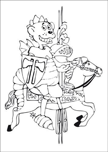 Af knutselkaart voor kinderen met kleine draak dinolino als ridder op paard • ook voor direct verzenden met uw persoonlijke tekst als inlegger. • Elegante vouwkaart met envelop binnen blanco