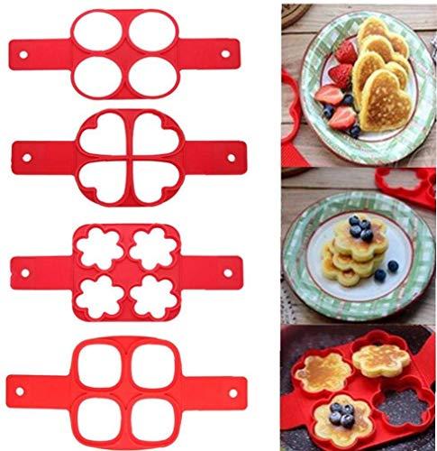 Flip Cooker Pancakes Mold, 2er Pack Nonstick Silikon Pancake Mold Maker Frühstück Pancake Shaper - Runde und Herzform, Blume und Quadrat (Herz und Quadrat)