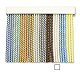 Cortinas Exterior Puerta de Cordon | Tiras Plastico PVC y Barra Aluminio | Ideal para Terraza y Porche | Antimoscas | Blanco-Transparente | 210 * 120