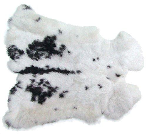 Ensuite Kaninchenfelle weiß-schwarz naturfarben, ca. 30x30 cm, Felle vom Kaninchen mit seidigem Haar