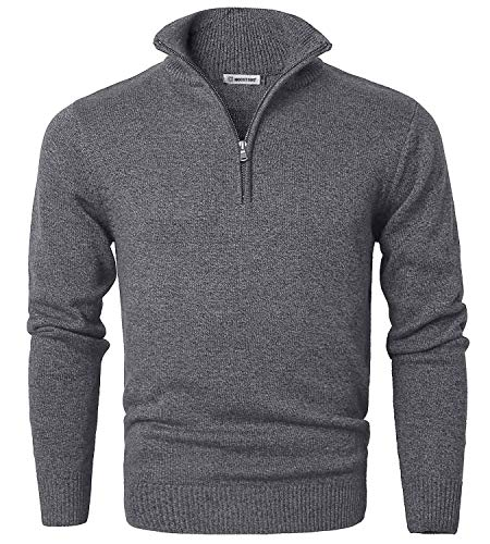 MOCOTONO Men's Long Sleeve Quarter Zip Sweater Knit Turtleneck Pullover Dark Grey Medium