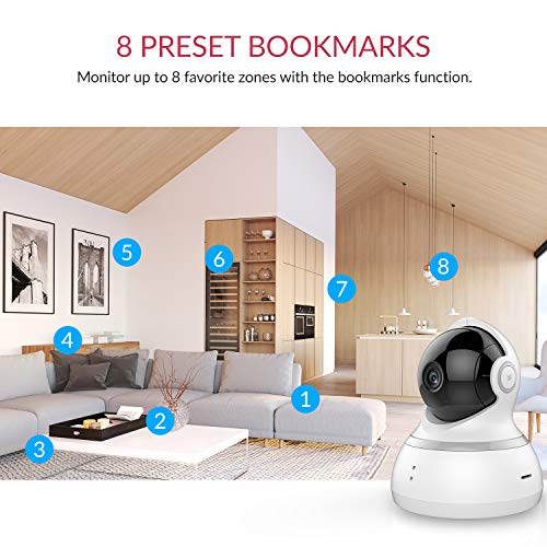 YI Indoor Wireless WiFi Security IP Camera, Smart Nanny Pet Dog Cat Cam with Night Vision, 2-Way Audio, Motion Detection, 360-degree, 1080p, Phone App, Works with Alexa and Google(White)