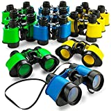 Toy Kids Binoculars (12 PC) For safari birthday party supplies, Party favors for kids birthday,Jungle party favors, Binoculars for kids bulk with Neck String for Bird watching, Camping party favors