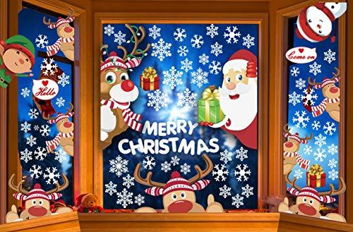CheChury Fensterbilder für Weihnachten Netter Weihnachtsmann Selbstklebend Fensterdeko Fensterbilder Winter Statisch Haftende Aufkleber Dekoration Elche Wiederverwendbar Schneeflocken Fenster