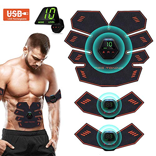 Elettrostimolatore per Addominali,Elettrostimolatore Muscolare,EMS Stimolatore,USB Addominale Tonificante Cintura, LCD Display,Addome/Braccio/Gamba per Uomo o Donna 10 modalità 20 intensità (001)