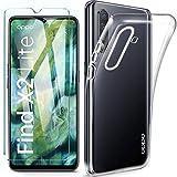 HYMY Hülle für Oppo Find X2 Lite + 1 x Schutzfolie Panzerglas - Transparent Schutzhülle TPU Handytasche Tasche Durchsichtig Klar Silikon Hülle für Oppo Find X2 Lite (6.4