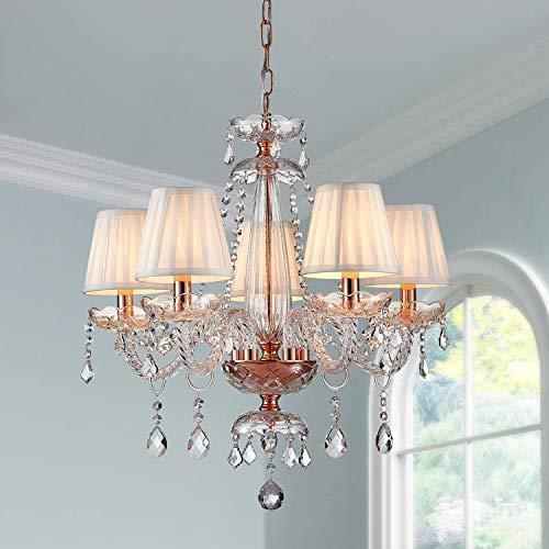 Saint Mossi Moderne Kristallglas Kronleuchter Beleuchtung Deckenleuchter Lampe 5 Arme mit E14 Sockel Rose Gold Finish Stoffschirme - 2