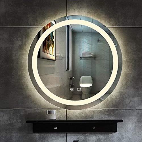 Bathroom mirror con Espejo Inteligente Light Defog, Espejo de Baño LED Redondo sin Marco, Espejo de Maquillaje para Colgar en la Pared del Hotel, Interruptor de Doble Toque  80 cm * 80 cm