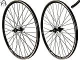 Redondo 26 Zoll Laufrad Set Hinterrad Vorderrad 26' V-Profil Hohlkammer Felge Schwarz