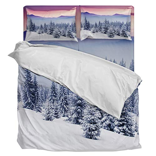 New Bedding Set Duvet Cover 4 Piece- Rising Sun Winter Morning Trees Forest Snowy Foggy Soft Twill Plush Quilt Cover, Include 1 Duvet Cover 1 Flat Sheet And 2 Pillow, for Adults Children Boys Girls, King