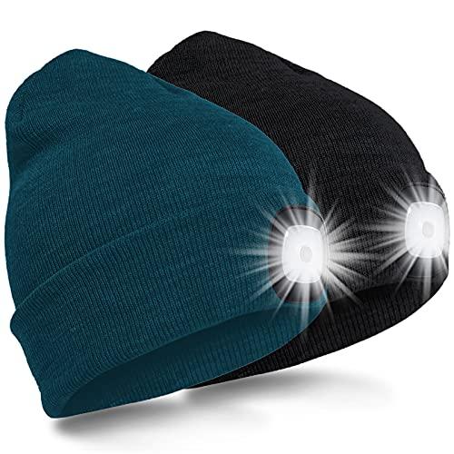 SPGOOD LED Beanie Beleuchtete Mütze mit Licht Laufmütze Herren Damen Kappe Lampe USB Nachladbare Mütze Winter Warm Stirnlampe mit LED Licht für Jogger,Camping,Laufen (Schwarz&Dunkelgrün)