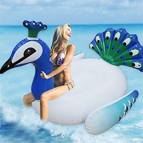 Tumbona flotante Flotador inflable piscina Forma gigante del pavo real del partido Mat...
