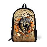 UNICEU Kids School Bag T-Rex Dinosaur Printing Backpack Bookbags for Teen Boys