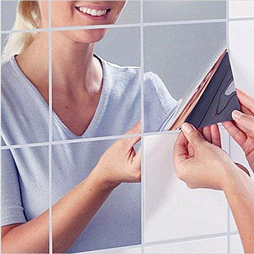 HKTOPONE 24 UNIDS Cuadrados de Azulejo Espejo Pegatinas de Pared 14.8 cm x 14.8 cm 3D Decal Mosaico Home Room DIY Decoración para Sala de...