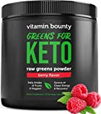 Vitamin Bounty - Greens for Keto - Berry Flavor Raw Greens Powder - only 3g net Carbs per Serving - Plant Based Food Fruit & Vegetable Blend