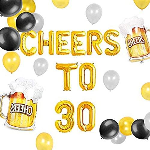 JeVenis Set von 18 Prost bis 30 Jahre Luftballons Prost bis 30 Jahre Banner Prost und Bier bis 30 Jahre Banner 30. Geburtstagsfeier 30. Jahrestag 30. Geburtstagsschild