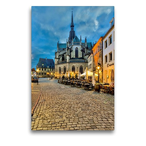 CALVENDO Premium Textil-Leinwand 50 x 75 cm Hoch-Format Rathaus und Marienkirche Osnabrück, Leinwanddruck von Kurt Krause