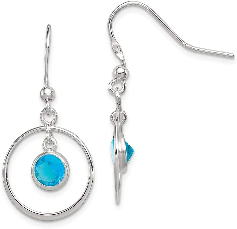 Beautiful Sterling silver 925 sterling Sterling Silver Circle Dangle bluee CZ Earrings