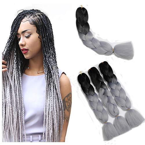 Ombre Flechthaar Kanekalon Showjarlly Jumbo Zöpfe Haar Synthetische Haarverlängerungen 24 inch (60 cm) 300g / 3Pcs, 2 Ton Schwarz/Silber