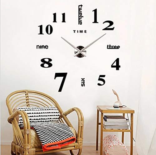 Yiteng 3D DIY 手作り クロック 掛け時計 壁時計 ウォールクロック ウォールステッカー ローマ数字と英語 インテリア シンプル おしゃれ フリー配置 シルバーポインター ブラック
