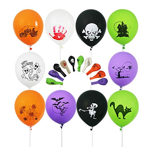100 PCS 12 Inches Latex Halloween Balloons with 10 Printed Designs Large Thick Big Round Biodegradable Bulk Helium Gas or Air Inflated for Halloween Party Holiday Decorations Supplies Favors